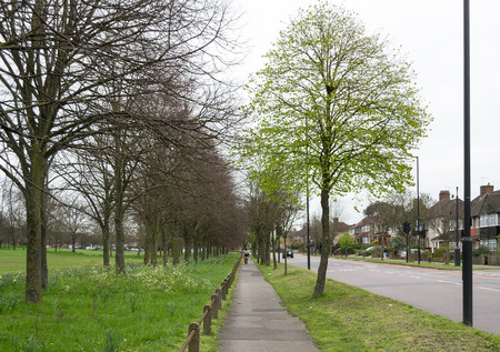 European countryside street view in Northolt, Greater London, United Kingdom