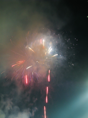 Abstract firework patterns in the night sky Stock Photo - 58597069