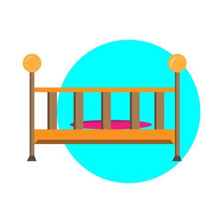 Baby bed simple illustration clip art vector Ilustração