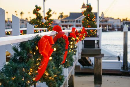 boat dock: Balboa Island Boat Dock Christmas