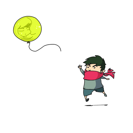 hape: boy and yellow balloon Illustration