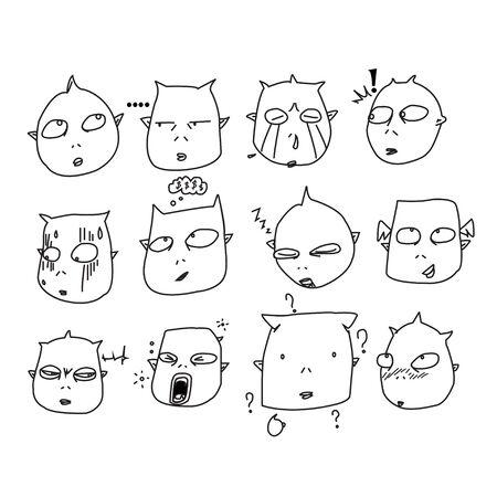 yawn: devil emotion vector Illustration