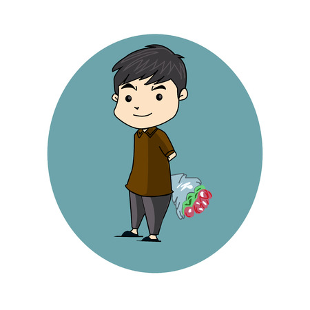 cartoon present: boy flower