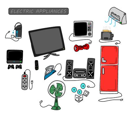 iron fan: electric appliances set in home