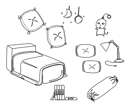 cartoon doll: bedroom furniture in white background