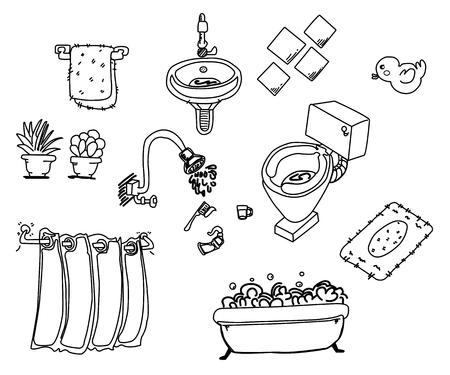 furniture: Hand drawn Bathroom furniture