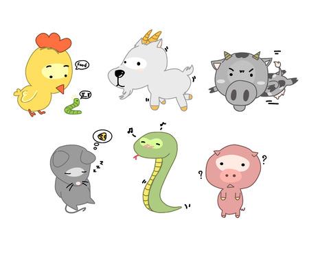 worm cartoon: cute hand drawn animals set
