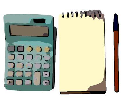 pen cartoon: calculator and pen cartoon Illustration