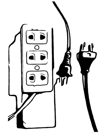outlet: black white plug and outlet