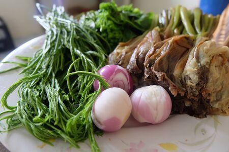 pennata: Acacia Pennata and shallot vegetable Stock Photo