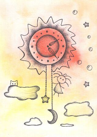 Clock in the sky, funny girl and cat.