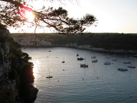 Minorca,view of cala Galdana Фото со стока