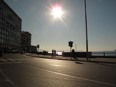 Naples, people in Lungomare Caracciolo