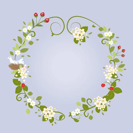 chik: Floral Design Love Spring Beautiful Wedding Frame Vector Illustration