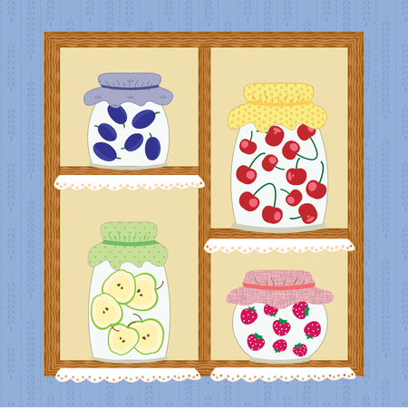 palatable: Winter Homemade Cherry Apple Strawberry Jam Canned Food Marmalade Illustration