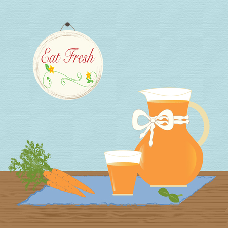 carotene: Pitcher with Carrot Eat Fresh Healthy Lifestyle Concept Vector Illustration