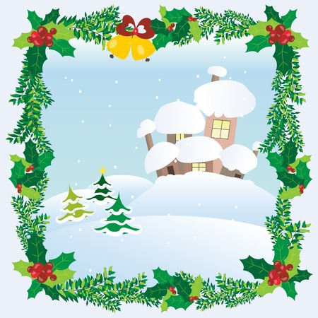 snow house: Christmas Landscape Winter Snow Houses Roofs Framed Holiday Mood Vector illustration
