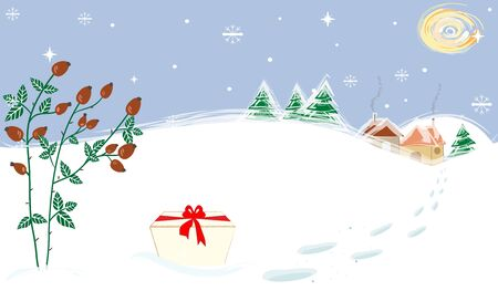 briar: Winter Landscape Moon Briar Present Christmas Gift Vector
