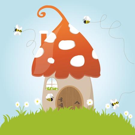 bee house: Spring Mushroom Flower Grass Green Door Blue Sky Vector Illustaration Cartoon Flowers Window Summer Art Animation