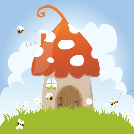 Spring Bees House Door Fairy Tale Clouds Blue Sky Vector Illustration Grass Flowers Fantasy Childhood Imagination Art Vector