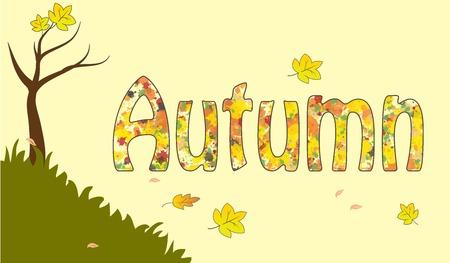 Autumn fall seasonal pattern yellow leaf element vector illustration Illustration