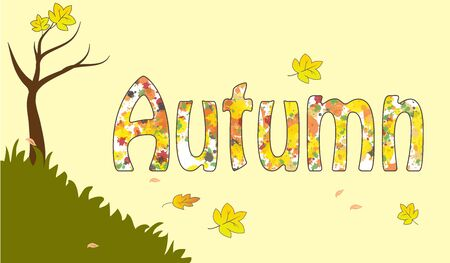 Colorful autumn fall background yellow leaf vector illustration Ilustracja