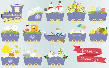 christmas train: Cartoon train calendar season year nature spring summer autumn winter vector