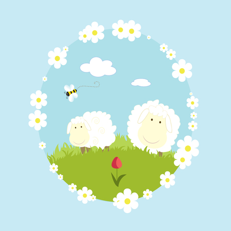 Landscape farm with sheeps and bee cartoon vector illustration Ilustracja