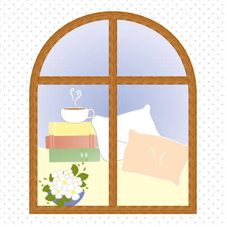 light window city romance coffee vector illustration Ilustracja
