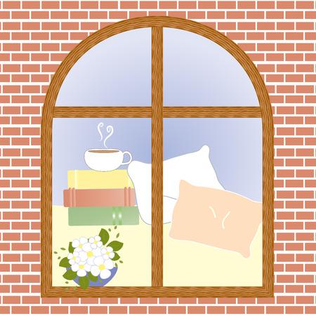 vista ventana: Copa del cacao caf� vista t� ilustraci�n ventana de la flor del vector Vectores