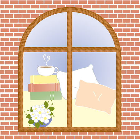 window view: Cup of coffee cocoa tea view window flower vector illustration Illustration