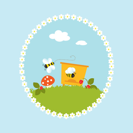Cartoon flowers beehive garden art vector illustration