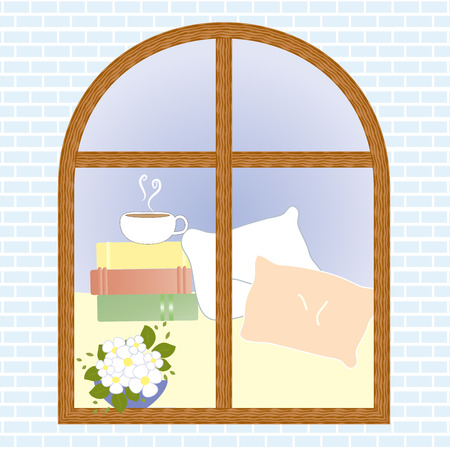tea cosy: View window flower coffee cup book vector illustration