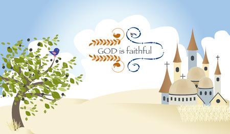 jeruzalem: Israël God Triad Worship Jeruzalem kasteel Christendom Vector Illustration Stock Illustratie