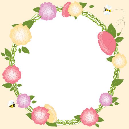 Floral Frame Set Retro Flowers Wreath Wedding Card Vector Illustration Ilustracja