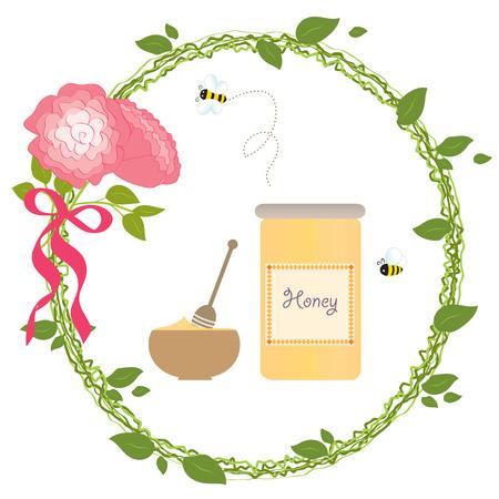 Romantic Wreath Rose Flower Bio Honey Bee Gold Vector Illustration Vector