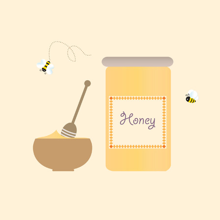 Cartoon Bee Jar Honey Retro Healthy Natural Vector Illustration Ilustracja