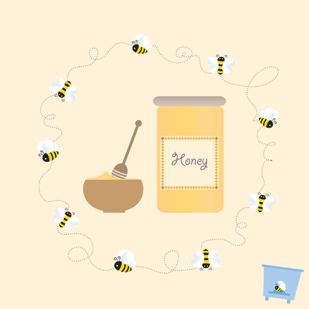 Bee Frame Bio Honey Sweet Cartoon Beehive Vector Illustration Ilustracja