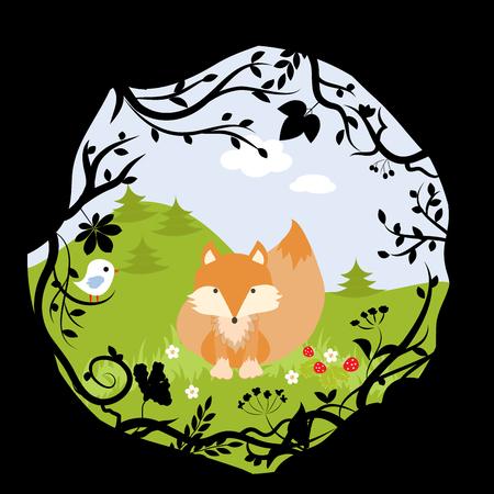 copse: Forest Fox Bird Wild Cute Nature Woods Cartoon Vector Illustration Stock Photo