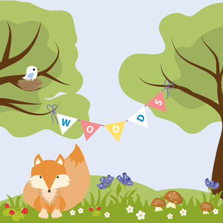 Fox Woods Animal Cartoon Wildlife Text Strawberry Nest Bird Vector Illustration