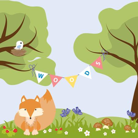copse: Fox Woods Animal Cartoon Wildlife Text Strawberry Nest Bird Vector Illustration