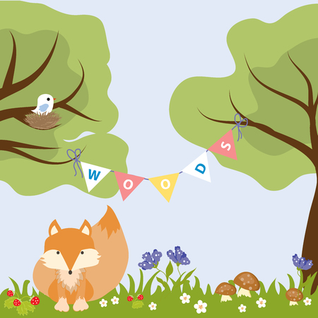 Tree Flower Colourfull Baby Design Fox Bird Vector Illustration