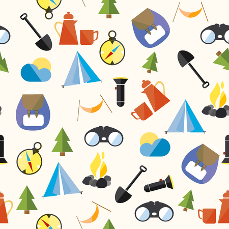 Set Tourism Camp Hike Pattern Seamless Loop Icon Vector Illustration Ilustracja
