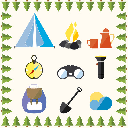 Tree Wild Camp Rest Vacation Mountain Vector Illustration