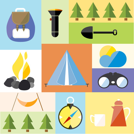 hike: Camp Tent Set Adventure Hike Forest Travel Vector Illustration Illustration