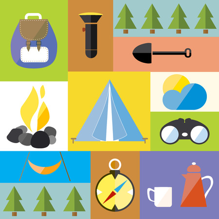 Cartoon Camp Design Nature Outdoor Boho Icon Vector Illustration