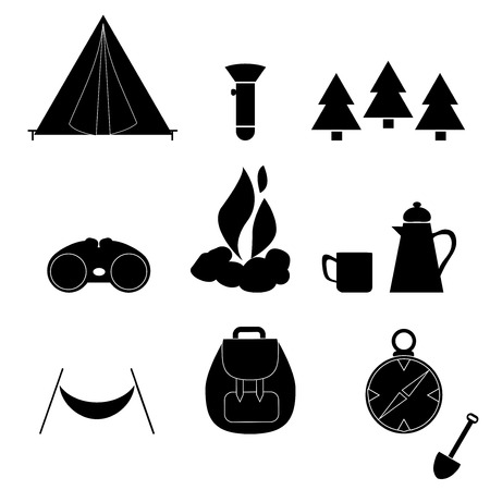 Camp Icon Silhouette Nature Vector Illustration