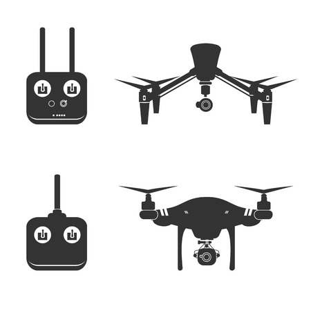 drone: Drone Video Aerial Fly Vector Illustration