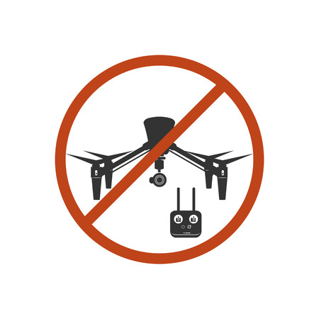 danger zone: Drone Prohibited Danger Zone Icon Red Vector Illustration