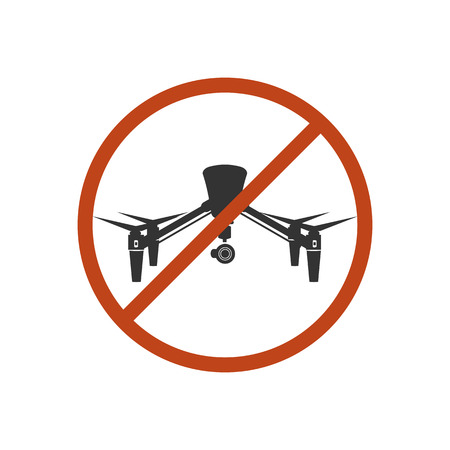 prohibit: Drone Safety Sign Prohibit Air Fly Danger Vector Illustration
